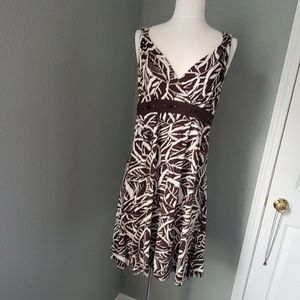 Brown leaf Print Dress